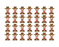 Satz des Sheriff Emoticonvektors lokalisiert auf weißem Hintergrund Stockfotos