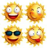 Satz des Sonnencharakters mit lustigen Gesichtsausdrücken in glattem 3D realistisch für Sommer Stockfotos
