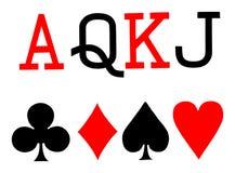 Satz des Spielkartesymbolvektors Spaten, Herz, Club, Diamant, As, Königin, König, Steckfassung vektor abbildung