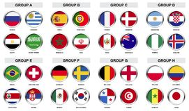 Satz des Sportturnierausweises mit Nationsflagge Lizenzfreies Stockbild
