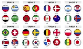 Satz des Sportturnierausweises mit Nationsflagge stock abbildung
