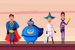 Satz des Superhelden Karikaturvektor illustratration Lizenzfreie Stockfotografie