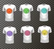 Satz des T-Shirts mit farbigen Gesichtern, Stimmung und Stoff, Lizenzfreie Stockfotografie
