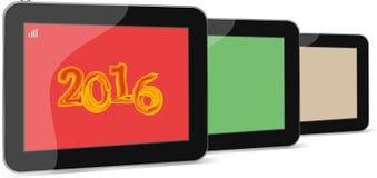 Satz des Tabletten-PC oder der intelligenten Telefonikone lokalisiert auf Weiß mit einem Zeichen 2016 lizenzfreies stockfoto