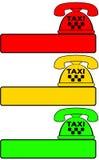 Satz des Taxitelefons für Anruffahrerhaus Stockfotografie