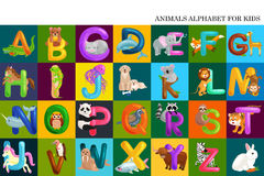 Satz des Tieralphabetes für Kinderbuchstaben, Karikaturspaß-ABC-Bildung in der Vorschule, nettes Kinderzoo-Sammlungslernen Stockfoto