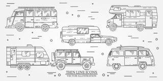 Satz des Touristenbusses, SUV, Anhänger, Jeep, RV-Wohnwagenanhänger, Reisend-LKW Sommerreisefamilien-Reisekonzept Dünne Linie Iko Lizenzfreie Stockfotos