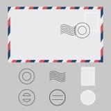 Satz des Umschlag-, Stempel-, Poststempel- und Wasserzeichens Lizenzfreie Stockfotos