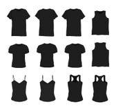 Satz des unterschiedlichen realistischen schwarzen T-Shirts für Mann und Frau Lokalisiert auf einem weißen Hintergrund Hemd ärmel lizenzfreie abbildung