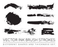 Satz des Vektor-Schwarzen Pen Ink Brush Strokes Schmutz-Tinten-Bürste Stro Stockbild