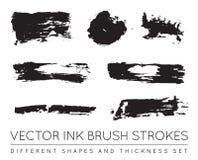 Satz des Vektor-Schwarzen Pen Ink Brush Strokes Schmutz-Tinten-Bürste Stro Lizenzfreies Stockbild