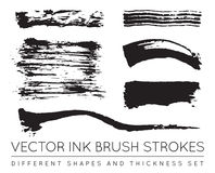 Satz des Vektor-Schwarzen Pen Ink Brush Strokes Schmutz-Tinten-Bürste Stro Stockfotos