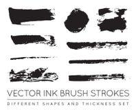 Satz des Vektor-Schwarzen Pen Ink Brush Strokes Schmutz-Tinten-Bürste Stro Lizenzfreie Stockfotografie