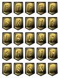 Satz des Vektorcharakters vom Runen- Alphabet auf Steinen Lizenzfreie Stockfotos
