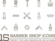 Satz des Vektors Barber Shop Elements Lizenzfreies Stockbild