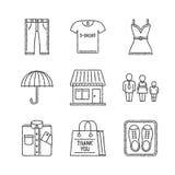Satz des Vektors kleidet Ikonen in der Skizzenart stock abbildung