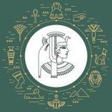 Satz des Vektors lokalisierte Ägypten-Symbole und -gegenstände lizenzfreie abbildung