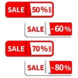 Satz des Verkaufs-Aufklebers oder des Aufklebers Stockfotos