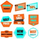 Satz des Verkaufs, kaufen jetzt, neue, Fahne Preise in hellblauem und O Lizenzfreie Stockfotografie