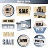 Satz des Verkaufs, kaufen jetzt, neue, Fahne zum halben Preis im Blau und Goldpa Stockfoto