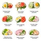 Satz des verschiedenen kleinen Sandwiches lokalisiert auf weißem Hintergrund Stockbilder