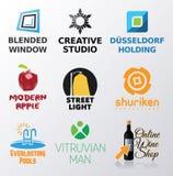 Satz des verschiedenen Logos spornte Formen an Stockbild