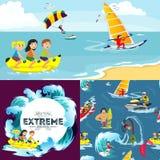 Satz des Wasserextrems trägt Hintergründe, lokalisierte Gestaltungselemente für Sommerferien-Tätigkeitsspaßkonzept, Karikaturwell Lizenzfreies Stockbild