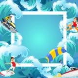Satz des Wasserextrems trägt Hintergründe, lokalisierte Gestaltungselemente für Sommerferien-Tätigkeitsspaßkonzept, Karikaturwell Lizenzfreie Stockbilder