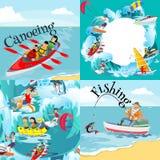 Satz des Wasserextrems trägt Hintergründe, lokalisierte Gestaltungselemente für Sommerferien-Tätigkeitsspaßkonzept, Karikaturwell Stockfotos