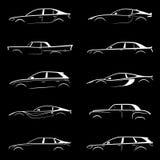 Satz des weißen Schattenbildautos Stockfotos