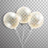 Satz des weißen transparenten Ballons mit Konfettis in der Luft Bereifte Parteiballone für Ereignisdesign Parteidekorationen FO Stockbilder