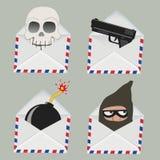 Satz des weißen Umschlags mit dem Schädel, Gewehr, Bombe und Dieb nach innen Stockfotografie