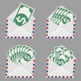 Satz des weißen Umschlags mit Geld nach innen Lizenzfreie Stockbilder