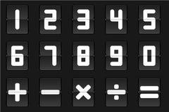 Satz des weißen Zahl- und Mathesymbols des leichten Schlages auf schwarzem Hintergrund Lizenzfreie Stockfotos