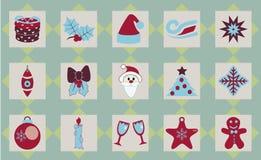 Satz des Weihnachtsikonenvektors Lizenzfreie Stockfotos