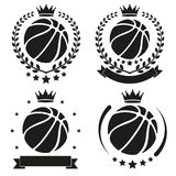 Satz des Weinlese-Basketball-Klubabzeichens und des Aufklebers Stockfotografie