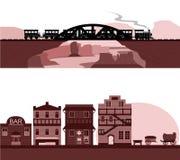 Satz des Westcowboys Town und der Schlucht-Eisenbahn-Szene Stockbilder