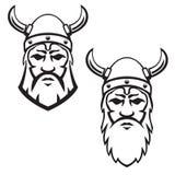 Satz des Wikinger-Kriegerskopfes Gestaltungselement für Emblem, Zeichen, Ausweis Lizenzfreies Stockbild