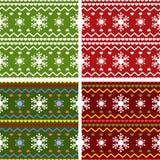 Satz des Winters oder des Weihnachten gestrickten Musters Lizenzfreie Stockfotos