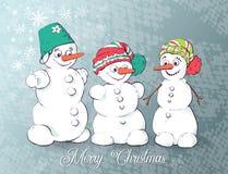 Satz des Winterurlaubschneemannes Nette Schneemänner in den verschiedenen Kostümen stock abbildung