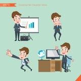 Satz des Zeichnens der flachen Schriftart, Büroangestellttätigkeiten des Geschäftskonzeptes junge Stockbild