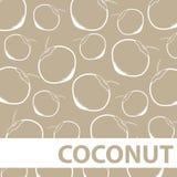 Satz des Zeichnungs-Kokosnuss-Hintergrund-Vektors Stockfoto