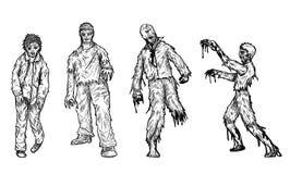 Satz des Zombies eigenhändig zeichnend Lizenzfreie Stockbilder