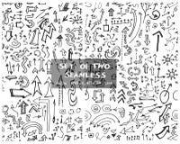 Satz des zwei Hand gezeichneten nahtlosen Gekritzelmusters mit Pfeilen eps10 Lizenzfreies Stockbild