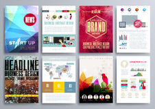 Satz Design-Schablonen für Broschüren, Flieger, bewegliches Technologi Lizenzfreie Stockfotos