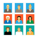 Satz Design-Vektorillustration des weiblichen Porträts der Geschäftsfrauprofilikone der flachen Stockbilder