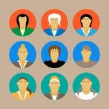 Satz Design-Vektorillustration des weiblichen Porträts der Geschäftsfrauprofilikone der flachen Stockfotos