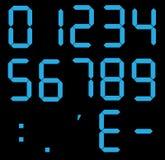 Satz digitale Zahlen des Taschenrechners Elektronische Zahlen lizenzfreie abbildung