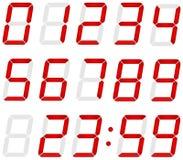 Satz digitale Zahlen gemacht vom Rot geführt Lizenzfreie Stockbilder