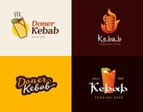 Satz doner Kebab-Logoschablonen Vector kreative Aufkleber für türkisches und arabisches Schnellrestaurant Stockfotos